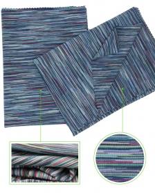 High Stretch 94% Polyester 6% Elastane Space Dyed Single Jersey fabric in Colored Stripes
