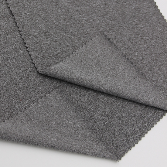 88 Polyester 12 Spandex Front Side Brushed Cation Fabric With Super Soft Handle In Heather Gray Color