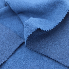 94% Polyester 6% Spandex French Ribbed Back Polar Fleeced fabric in Marle Blue Color