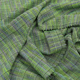 83% Polyester 17% Spandex Stretchy Jacquard fabric with Double Colored Check for Leisure Apparel Use