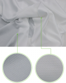 Knitted White Color 100% Polyester Mesh Fabric in Single Side Diamond Pattern for Sports T-Shirts